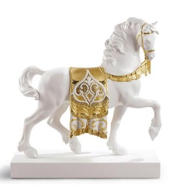 A Regal Steed (re-deco Golden) Lladro Figurine