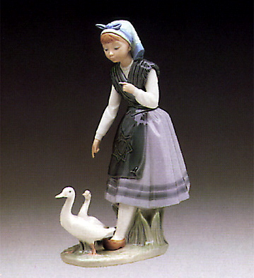 Aracely With Pet Duck Lladro Figurine
