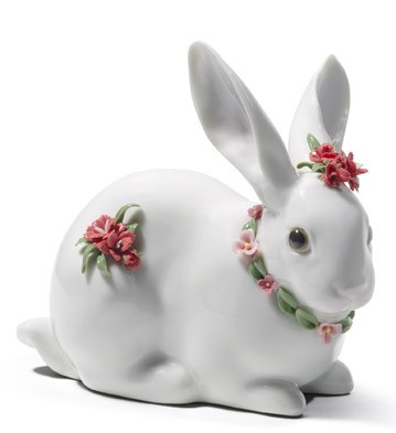 Attentive Bunny (carnations) Lladro Figurine