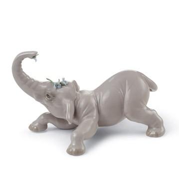 Baby Elephant With Blue Flower Lladro Figurine