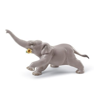 Baby Elephant With Yellow Flower Lladro Figurine