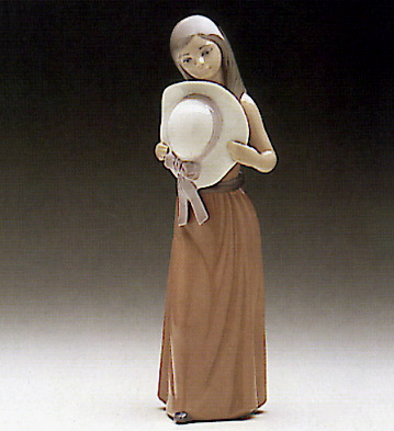 Bashful-girl With Straw H Lladro Figurine