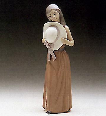Bashful-girl With Straw H Lladro Figurine