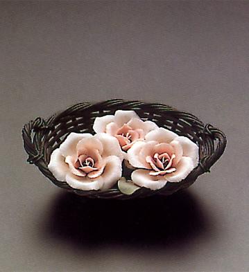 Basket Pink Flowers Lladro Figurine