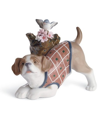 Blossoms For The Puppy Lladro Figurine