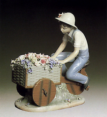 Boy W-tricycle & Flowers Lladro Figurine