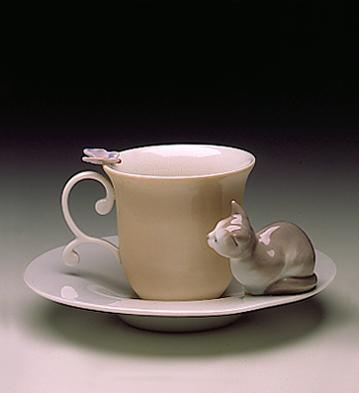 Cat & Butterfly Cup With Lladro Figurine