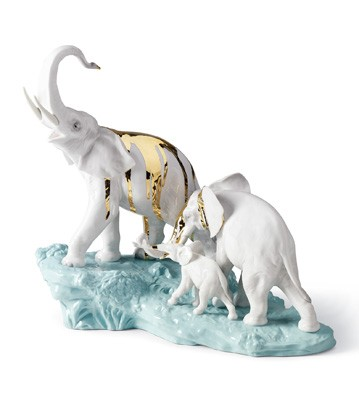 Celebration-elephants On Dark Turq.rock Lladro Figurine