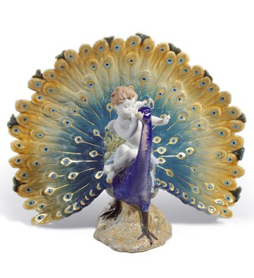 Cherub On A Peacock Lladro Figurine