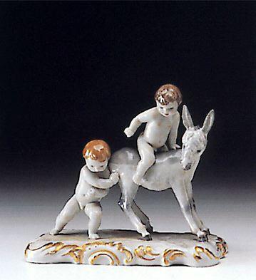 Children With Donkey Lladro Figurine