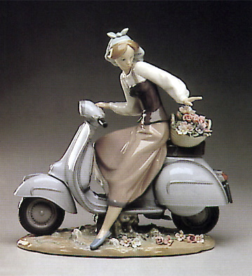 Country Girl W-motorcycle Lladro Figurine