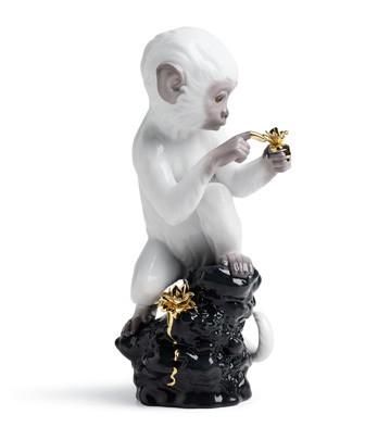 Curiosity - Monkey On Black Rock Lladro Figurine