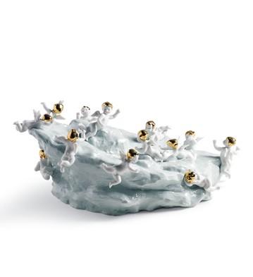 Discovery-cherubs On Large Light Turq.ea Lladro Figurine