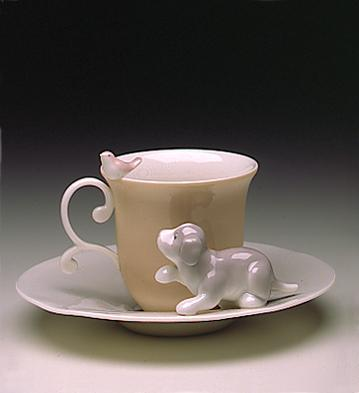 Dog & Bird Cup With Sauce Lladro Figurine