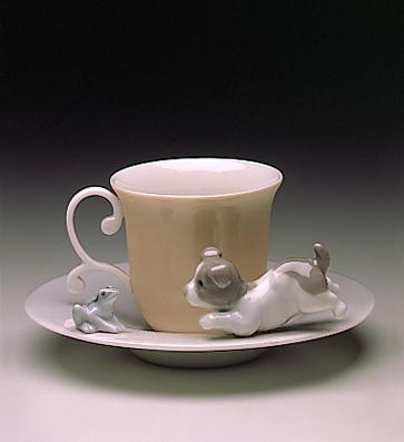 Dog & Frog Cup With Sauce Lladro Figurine