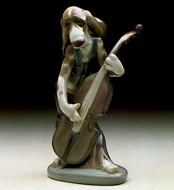 Dog Playing Contrabass Lladro Figurine