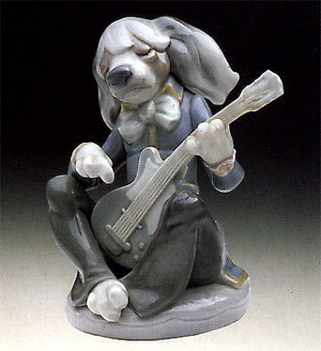 Dog Playing Guitar Seated Lladro Figurine