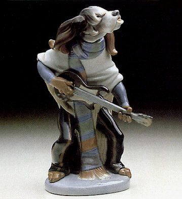 Dog Playing Guitar Lladro Figurine