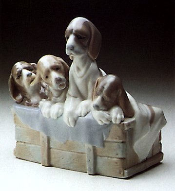 Dogs In Basket Lladro Figurine