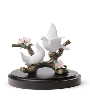 Doves On A Cherry Tree Lladro Figurine