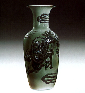 Dragon Jar Green Lladro Figurine