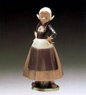 Dutch-girl Hands Akimbo Lladro Figurine
