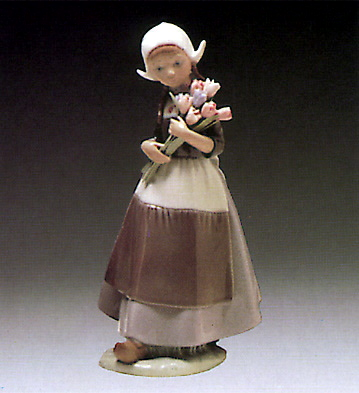 Dutch-girl W. Tulips Lladro Figurine