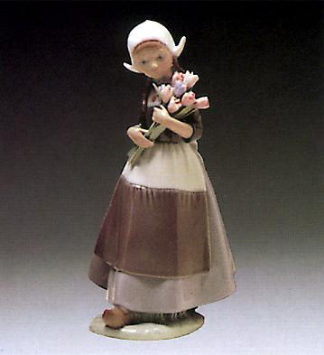 Dutch-girl W. Tulips Lladro Figurine
