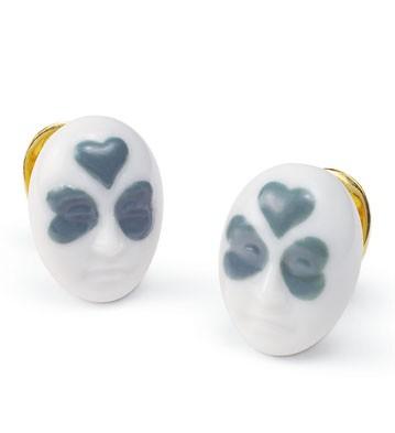 Earrings Clover Face Lladro Figurine