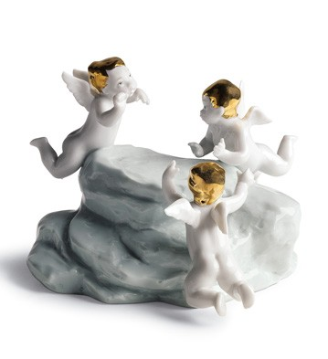 Earth-cherubs On Small Light Turq.earth Lladro Figurine