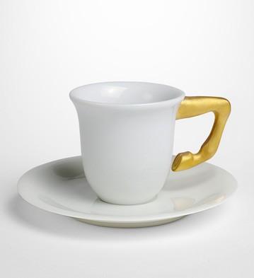 Equus Cof.cups+saucers Gilded(set For 2) Lladro Figurine
