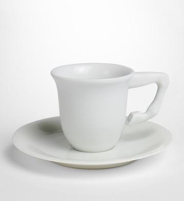 Equus Cof.cups+saucers White(set For 2) Lladro Figurine