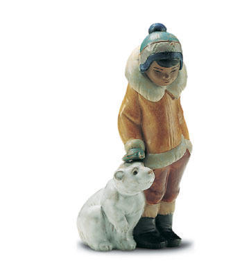 Eskimo Boy With Pet Lladro Figurine