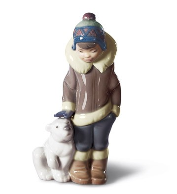Eskimo Boy With Pet Lladro Figurine
