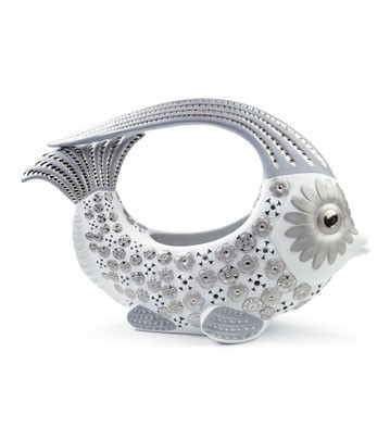 Fish Centerpiece Small (white & Silver) Lladro Figurine