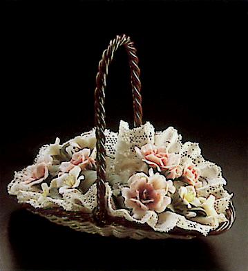 Flat Basket W/flowers Lladro Figurine