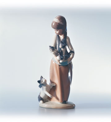 Following Her Cats Lladro Figurine