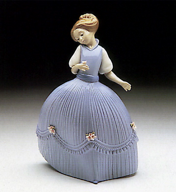 Girl Bluish Dress Flower Lladro Figurine