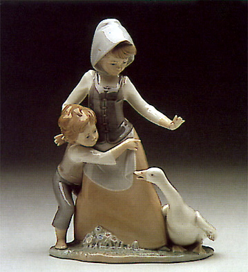 Girl Boy And Goose Lladro Figurine