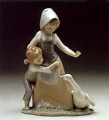 Girl Boy And Goose Lladro Figurine
