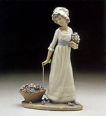 Girl Pulling Basket Of Fl Lladro Figurine