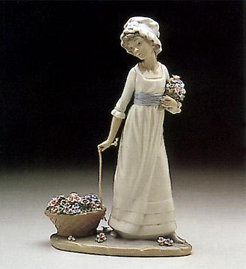 Girl Pulling Basket Of Fl Lladro Figurine