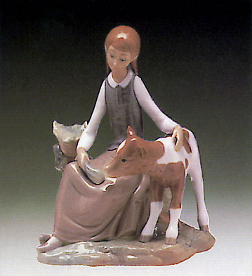 Girl W/ Calf Lladro Figurine