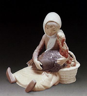 Girl W/ Turkey Lladro Figurine