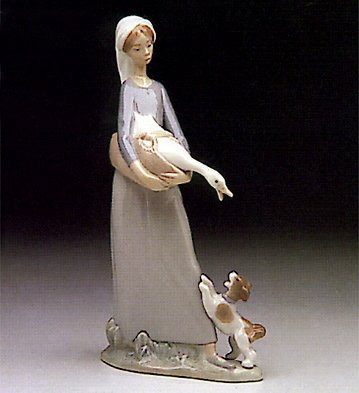 Girl W/goose And Dog Lladro Figurine