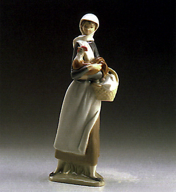 Girl With Cockerel Lladro Figurine