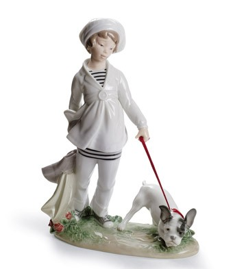 Girl With French Bulldog Lladro Figurine
