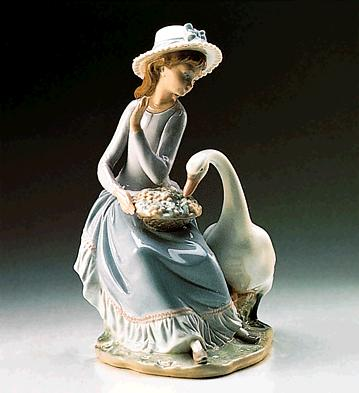 Goose Trying To Eat Lladro Figurine