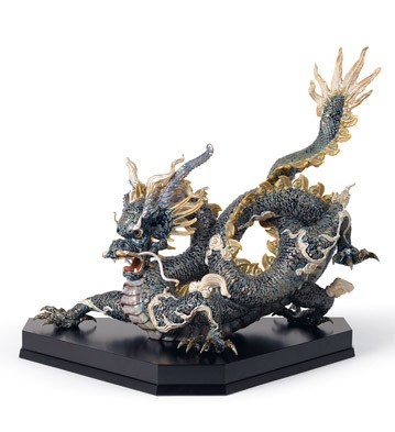Great Dragon (blue And Golden) Lladro Figurine