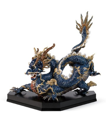 Great Dragon (blue Enamels) Lladro Figurine